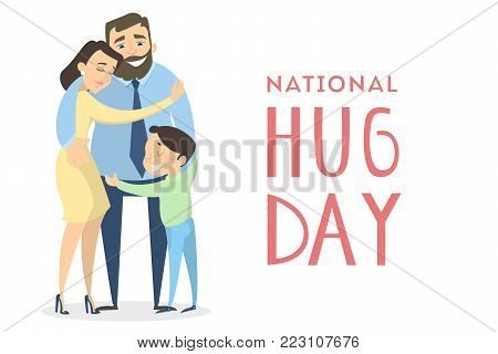 National hugging day. Family hugging on white.