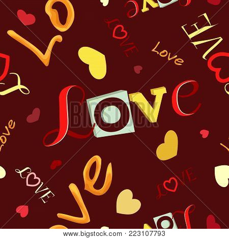 Vector seamless pattern. For Valentine's Day from the inscriptions love. On a claret background