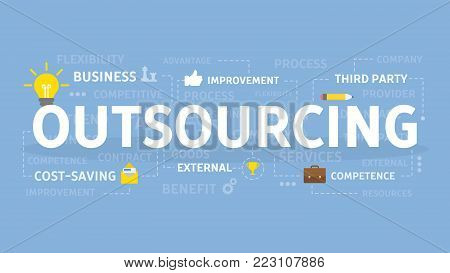 Outsourcing concept illustration. Idea of finding new staff and sources.