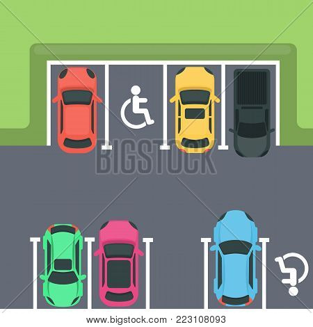 Parking top view. Cars and disabled spaces.