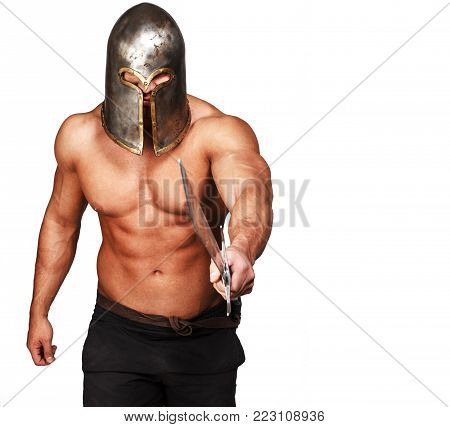 Image of shirtless warrior who is poiting with sword on someone