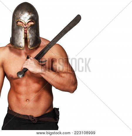 Image of topless warrior with his weapon