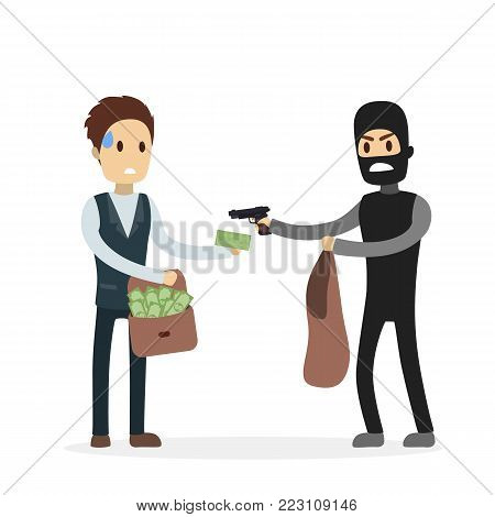 Robber stealing money from man and threting with gun.