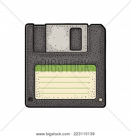 Floppy disk with blank label for personal computer. Engraving vintage vector color illustration. Isolated on white background. Hand drawn design element for label and poster