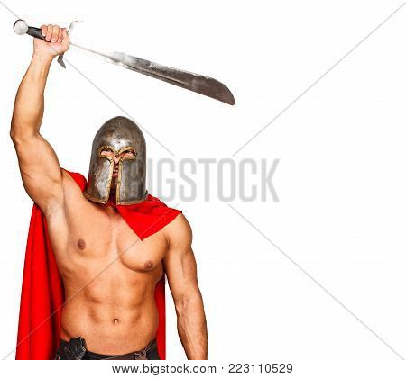 Image of brave warrior who raised his weapon
