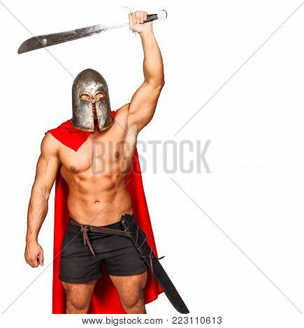 Image of aggressive warrior with raised hand