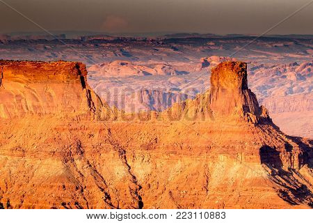Landscape view of geological rock formations in southwest Utah from a high overlook