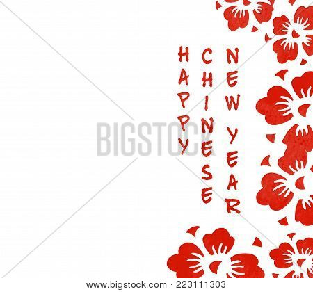 Border with red cherry flowers and congratulation for Chinese New Year