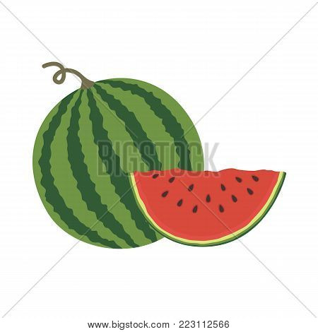 Vector illustration logo for whole ripe red fruit watermelon, green stem, cut half, sliced slice berry with red flesh. Watermelon pattern from natural sweet food. Flat style isolated on white background
