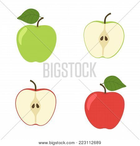 Bright vector set of colorful half and whole of juicy apple. Fresh cartoon apples on white background. Green and red Apple