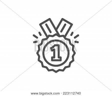Reward Medal line icon. Winner achievement or Award symbol. Glory or Honor sign. Quality design element. Editable stroke. Vector