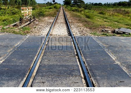 Rural Railway Track With Natural In Landscape