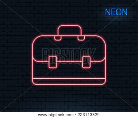 Neon light. Business case line icon. Portfolio symbol. Diplomat sign. Glowing graphic design. Brick wall. Vector