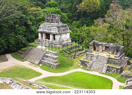 Aerial view of ruins Temples of the Cross Group, pre-Columbian Maya civilization, Palenque, Chiapas, Mexico. UNESCO world heritage site