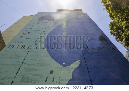 Rio de Janeiro, Brazil - Dec 17, 2017: This Project exposes Human Rights and the sad Brazilian legacy of slavery in the heart of the city of Rio de Janeiro