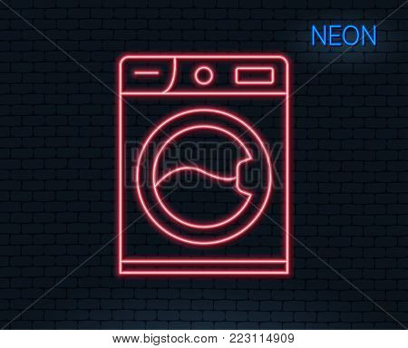 Neon light. Washing machine line icon. Cleaning service symbol. Laundry sign. Glowing graphic design. Brick wall. Vector