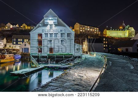 Oluf Holm, The Fisheries Museum In Alesund By Night.