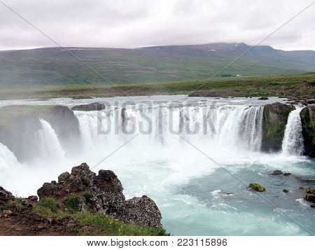 View of the Godafoss waterfall on Skjalfandafljot river in Iceland, July 10, 2017