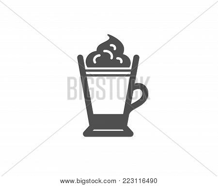 Latte coffee with Whipped cream icon. Hot drink sign. Beverage symbol. Quality design elements. Classic style. Vector