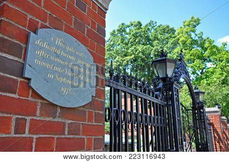 BOSTON - AUG. 12, 2011: Harvard University Gate in downtown Cambridge, Boston, Massachusetts, USA.