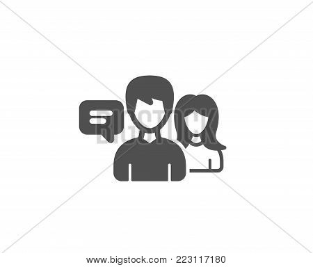 People talking simple icon. Conversation sign. Communication speech bubbles symbol. Quality design elements. Classic style. Vector