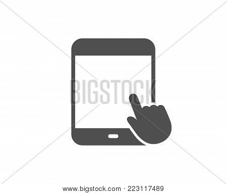 Tablet PC icon. Mobile Device with Hand cursor sign. Touchscreen gadget symbols. Quality design elements. Classic style. Vector