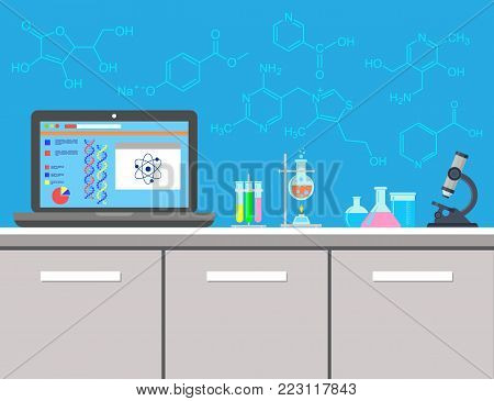 A chemical laboratory. Workplace laboratory. Microscope, DNA, chemical formulas, flasks and chemical substances. Vector illustration