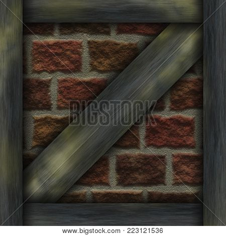 Wall abstract- wooden frame chalet construction elements, struts, stone. Decoration facade- panels of various shapes. Nature background- plaster filling.
