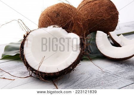 Coconut products with fresh coconut, Coconut flakes, water and oil