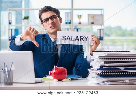 Businessman in salary increase concept