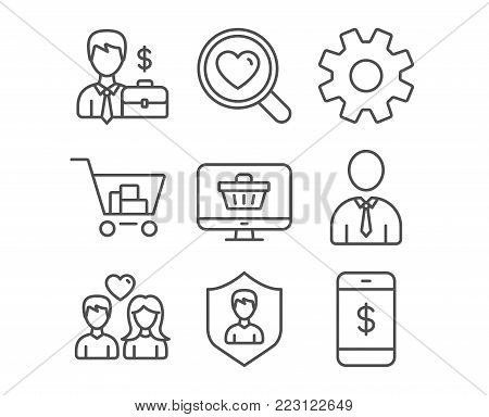 Set of Security agency, Web shop and Service icons. Internet shopping, Human and Couple love signs. Search love, Businessman case and Smartphone payment symbols. Vector