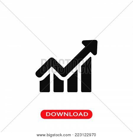 Line chart icon vector in modern flat style for web, graphic and mobile design. Line chart icon vector isolated on white background. Line chart icon vector illustration, editable stroke and EPS10. Line chart icon vector simple symbol for app, logo, UI.