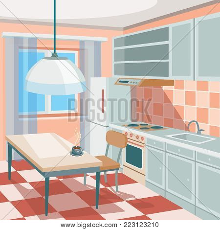 cartoon illustration of a kitchen interior with kitchen cabinets, a dining table with a cup of hot coffee or tea, a refrigerator, a cooker, a kitchen hood