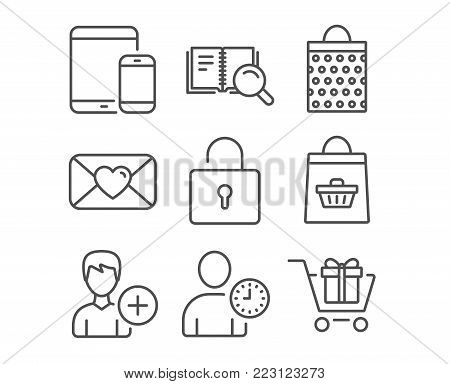 Set of Lock, Add person and Valentine icons. Mobile devices, Search book and Online buying signs. Shopping bag, Time management and Shopping cart symbols. Private locker. Edit user data. Love letter