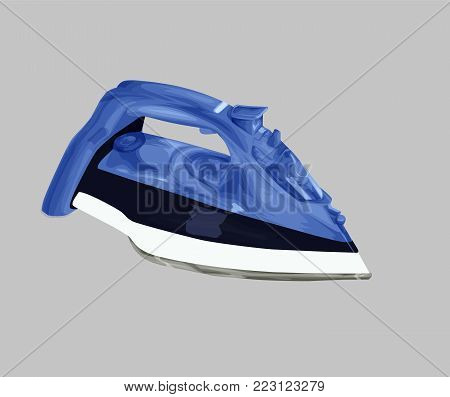 Electrical iron isolated, iron vector illustration. Steam iron cartoon