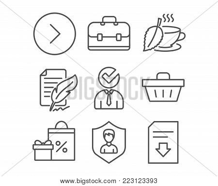 Set of Shopping, Feather signature and Portfolio icons. Vacancy, Forward and Shopping basket signs. Security agency, Mint tea and Download file symbols. Gifts and sales, Feedback, Business case