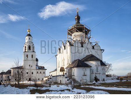 Assumption Cathedral and the Church of St. Nicholas with a bell tower in the Uspensky monastery of Sviyazhsk, Russia