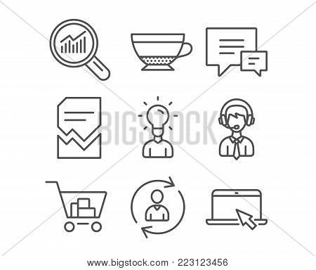 Set of Shipping support, Corrupted file and Education icons. Comment, Internet shopping and Dry cappuccino signs. Person info, Data analysis and Portable computer symbols. Vector