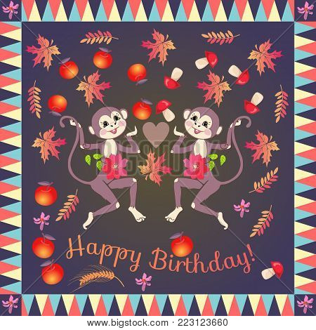 Cute cheerful monkeys, juggling with apples and mushrooms. Greeting card Happy birthday! Vector template. Wrapping design.