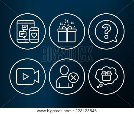 Set of Delete user, Question mark and Special offer icons. Video camera, Social media and Gift dream signs. Remove profile, Help support, Delivery box. Movie or cinema, Mobile devices, Receive a gift