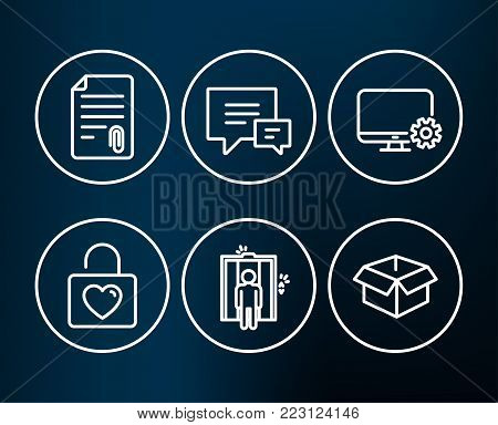 Set of Monitor settings, Comment and Elevator icons. Wedding locker, Attachment and Opened box signs. Service cogwheel, Talk bubbles, Lift. Valentines day, Attach file, Shipping parcel. Vector