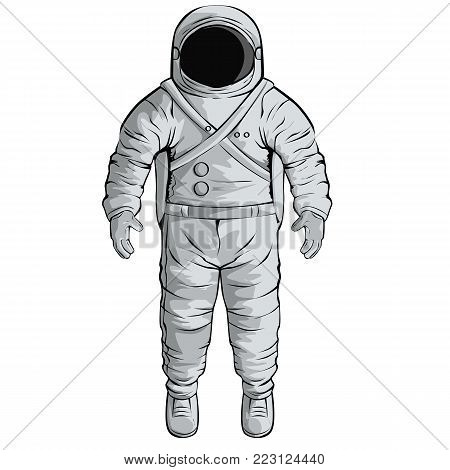 Vector illustration with cosmonaut, for web, posters NASA technology progress of civilisation