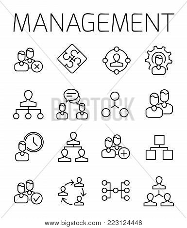 Management related vector icon set. Well-crafted sign in thin line style with editable stroke. Vector symbols isolated on a white background. Simple pictograms.