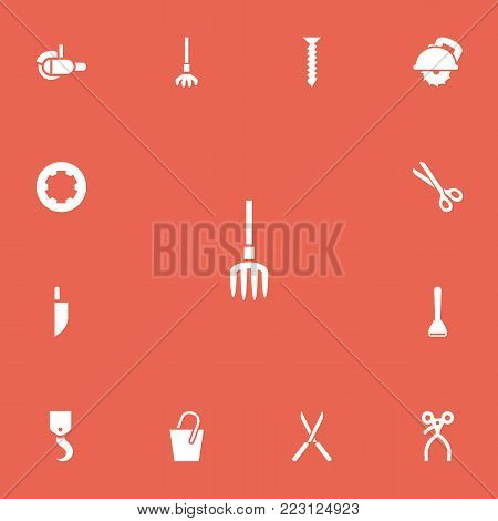 Set of 13 editable instrument icons. Includes symbols such as hook, grinder, glass cutter and more. Can be used for web, mobile, UI and infographic design.