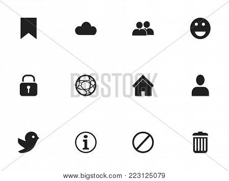 Set of 12 editable web icons. Includes symbols such as recycle bin, network, deny and more. Can be used for web, mobile, UI and infographic design.