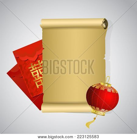 Blank Paper scroll decorated with Chinese red envelope with Chinese symbols wich mean Double Happiness and lantern could be used for invitation or advertisement desighns vector.