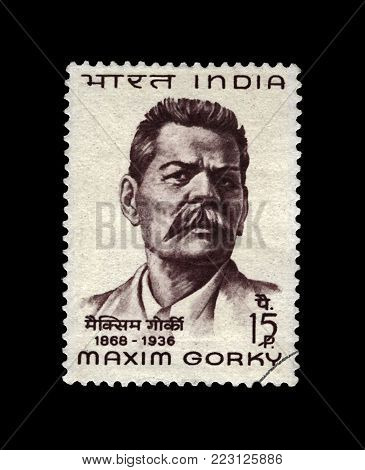 INDIA - CIRCA 1968: canceled stamp printed in the India shows Maxim Gorky (Maksim Gorki) aka Alexei Maximovich Peshkov (1868-1936), famous Russian writer, dramatist, politician, circa 1968. vintage postal stamp isolated on black background.