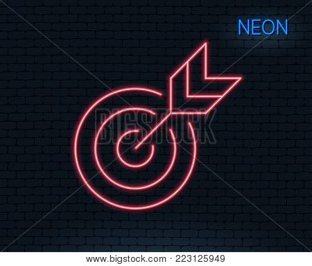 Neon light. Target line icon. Marketing targeting strategy symbol. Aim with arrows sign. Glowing graphic design. Brick wall. Vector