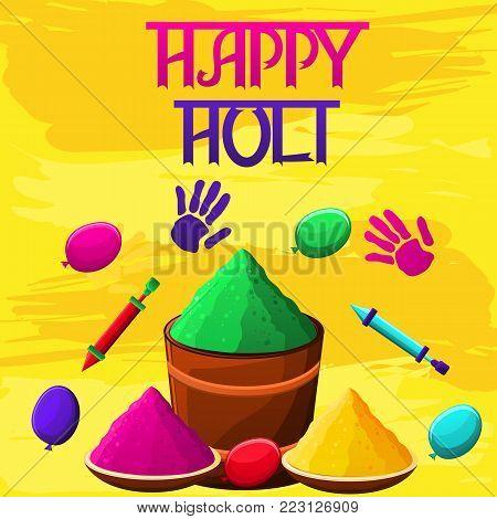 Happy Holi Illustration With Gulaal,powder Pots
