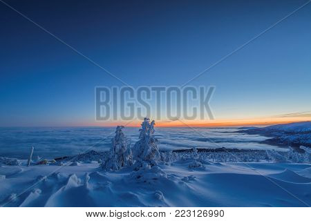 Morning inversion in the Krkonose Mountains, Czech Republik